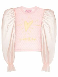 Viktor & Rolf heart-embroidered lace top - PINK