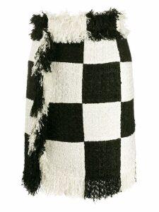MSGM checked frayed skirt - Black
