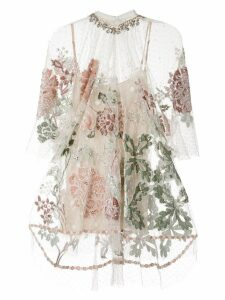 Biyan floral embroidered mesh top - NEUTRALS