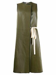 Plan C sleeveless side tie coat - Green