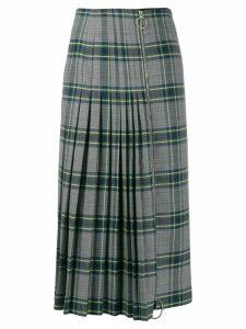 Cédric Charlier pleated plaid skirt - Grey