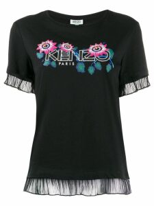Kenzo floral logo sheer trim T-shirt - Black