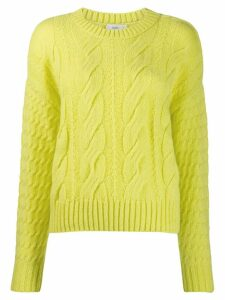 Closed cable knit jumper - Yellow