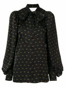 Christian Dada Love print satin shirt - Black