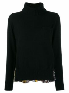Sacai pleated-back knit sweater - Black