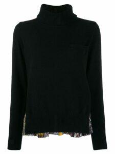Sacai pleated-back knit sweater - Black