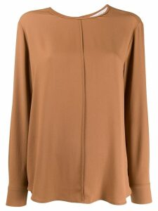 Tela long-sleeve flared blouse - Brown
