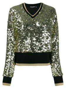Dolce & Gabbana sequin-embellished V-neck jumper - Black