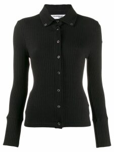 Courrèges snap button ribbed top - Black