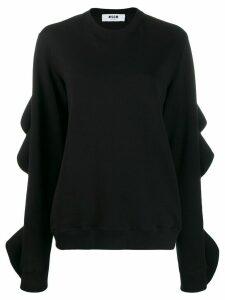 MSGM ruffle details sweatshirt - Black
