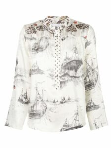 LA PRESTIC OUISTON mandarin collar shirt - White