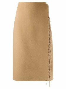 P.A.R.O.S.H. wrap style midi skirt - Brown
