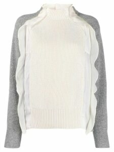 Sacai frill-trimmed two-tone jumper - 159 WHITE/GREY