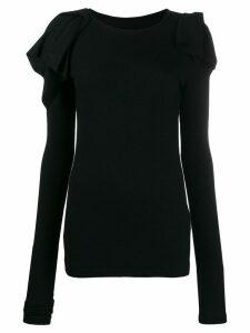 Yohji Yamamoto ruffle-trim wool sweater - Black