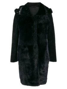 S.W.O.R.D 6.6.44 hooded shearling coat - Blue