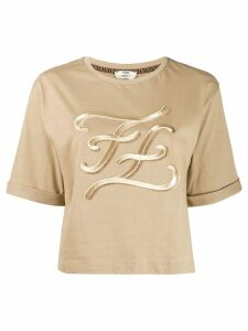 Fendi karligraphy logo t-shirt - NEUTRALS