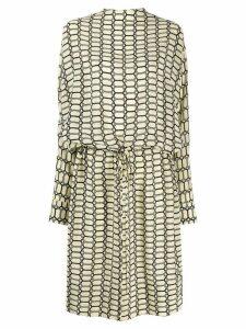Plan C geometric print silk dress - NEUTRALS