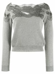 Ermanno Scervino lace top cropped sweater - Grey