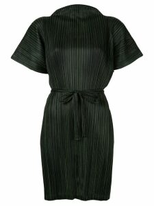 Pleats Please Issey Miyake Pinstripe belted tunic - Black