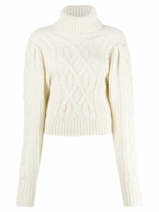 Wandering roll-neck jumper - White