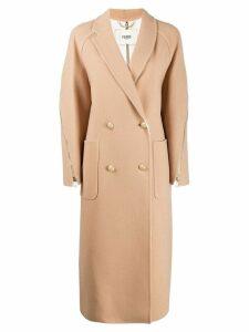 Fendi classic double breasted coat - Neutrals