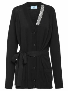 Prada crystal-embellished cardigan - Black