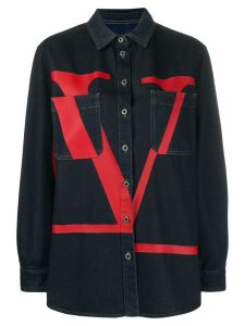 Valentino VLOGO printed denim shirt - Blue