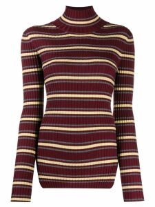 Plan C striped turtleneck sweater - Red