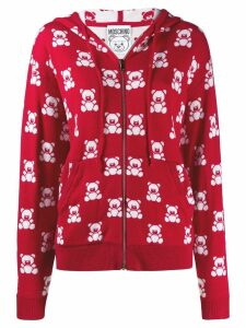 Moschino jacquard teddy bear zipped hoodie - Red