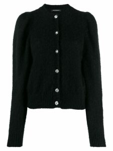 Wandering long-sleeve fitted cardigan - Black