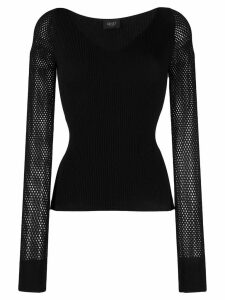 Liu Jo mesh-panelled knitted top - Black