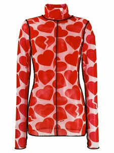 MSGM hearts print sheer top - White