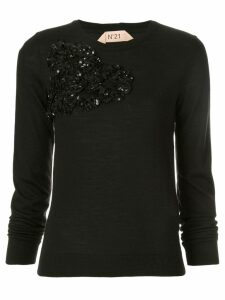 Nº21 floral appliqué jumper - Black