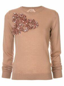 Nº21 floral appliqué jumper - Neutrals