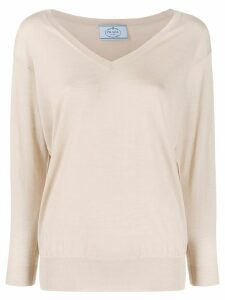 Prada knitted V-neck jumper - NEUTRALS