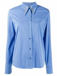 Rochas crystal-embellished poplin shirt - Blue