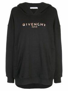 Givenchy metallic logo print hoodie - Black