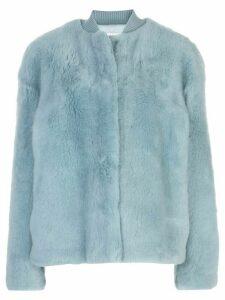 Jil Sander shearling bomber jacket - Blue