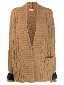 Brunello Cucinelli satin cuffs cardigan - NEUTRALS