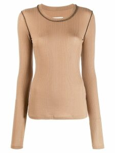 Mm6 Maison Margiela ribbed knit sweatshirt - Brown