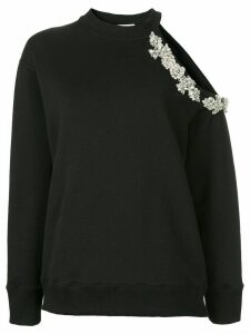 Christopher Kane crystal embellished cut-out sweatshirt - Black