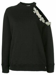 Christopher Kane crystal embellished cut-out sweatshirt - Black