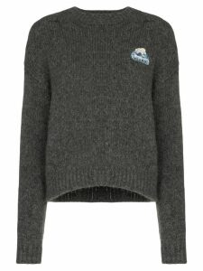 Alanui intarsia knit slogan jumper - Grey