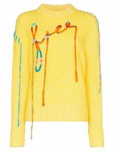 Mira Mikati embroidered ribbed jumper - Yellow
