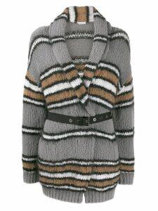 Brunello Cucinelli striped cardi-coat - Grey
