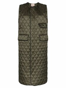 Plan C long quilted gilet - Green
