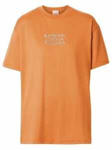 Burberry Embroidered Logo Cotton Oversized T-shirt - ORANGE