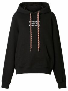 Burberry Embroidered Logo Cotton Oversized Hoodie - Black