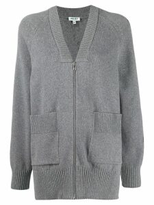 Kenzo knitted logo zip-up cardigan - Grey