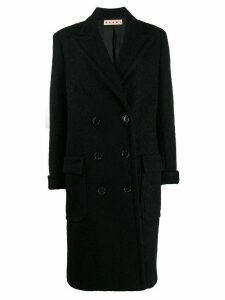 Marni textured double breasted coat - Black